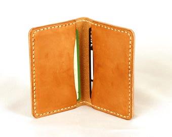 Natural leather card holder, Bifold card case, Leather card case, Business card holder, Credit card case, Card wallet, Minimal design.