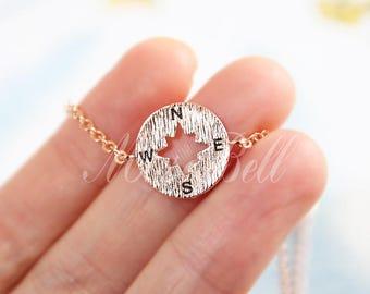Rose gold compass bracelet, Wanderlust bracelet, Friendship bracelet, Compass jewelry, Nautical Jewelry, Nautical bracelet, BFF bracelet