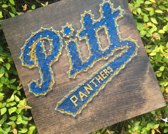 Pittsburgh Panthers Sports Team Man Cave String Art Wood Sign Wall Art Home Decor