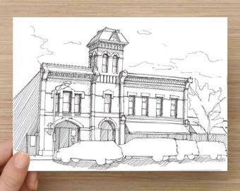 Ink Sketch of Historic Building in Fort Collins, Colorado - Drawing, Art, Architecture, History, Downtown, Pen and Ink, 5x7, 8x10, Print
