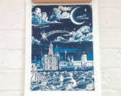 Blue Liverpool Skyline Print - Liverpool Fairytale Print - Navy Blue Liverpool Print - Liverpool Waterfront Print - Mersey Art Screen Print