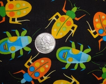 Beetles Bugs Insects Yellow Black JoAnn Cotton Quilting Fabric BTY by the yard