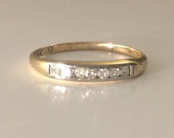 Antique Channel-set Diamond Ring in 14K Gold circa 1910