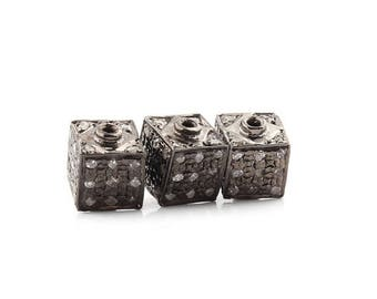 Mega Sale 1 Pc Pave  Diamond Cubes  925 Sterling Silver Beads -Antique Finish Cube Bead 5 mm PDC537