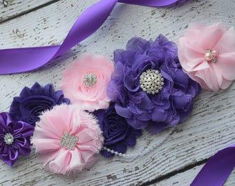 Maternity sash belt,purple pink Sash, #2 , sash,  flower Belt, maternity sash, baby shower gift