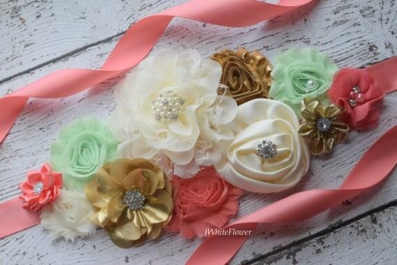 Maternity sash belt, coral mint gold Ivory Sash ,#2,flower sash,  flower Belt, maternity sash, baby shower gift