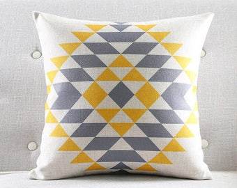 Decorative pillow, cushion cover yellow and gray triangle geometric home throw pillow shell customized size