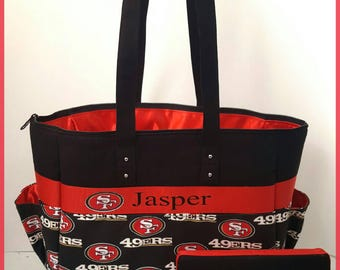 49ers diaper bag tote with matching wipe case. Bow. Red and black. Baby. Personalized