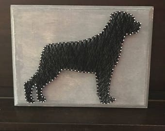 Rottweiler silhouette string art