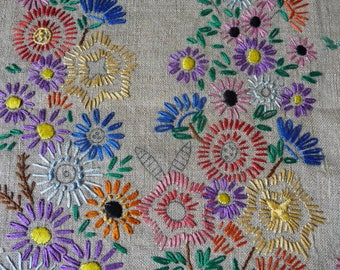 """Vintage Embroidered Linen Cushion Cover Multi Flowers To Finish with Silks 18 1/2"""" Sq."""