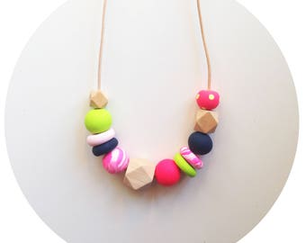 May - Pink, Green and Navy Handmade Polymer Clay Beads