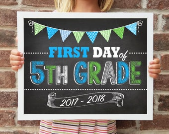 "5th Grade, Back to School Poster, DIGITAL Printable File, FIRST Day & LAST Day includ. 4 Sizes: 8x10"", 11x14"", 16x20"", 20x30"" includ."