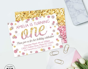 Glitter Ombre Birthday Invitation, Printable Pink and Gold First Birthday Invite, Glitter Confetti Party Invitation, Gold and Pink Party
