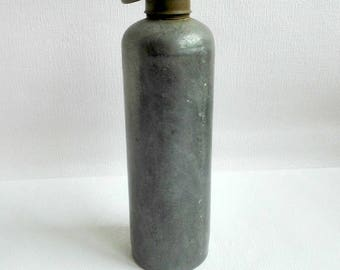 Vintage Zinc Bottle, Bed Warmer, Hot Water Bottle,Galvanized Bed Warmer, Industrial Design, 1940's