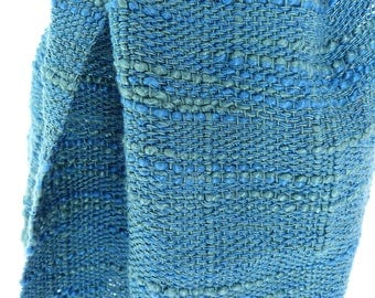 Handwoven Silk Scarf - Teal and Blue