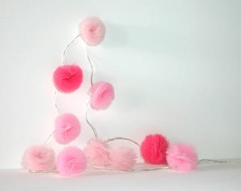 10 Led - Light string with tassels tulle three roses