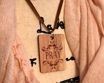Pray Necklace, Laser Engraved Cherry Wood, Group Gift Ideas, Group Discounts, Wedding Gifts, Laser Engraved, Bursting Barns Designs