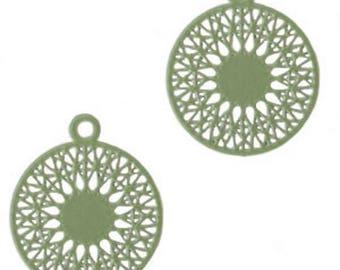 Bohemian Pendant, Boho Syle-3 pcs.-18 x 15 mm-Color selectable (color: Army green)