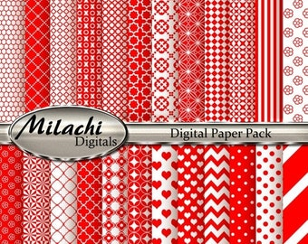 60% OFF SALE Red Digital Paper Pack, Scrapbook Papers, Commercial Use - Instant Download - M135