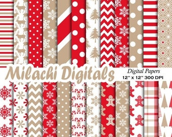 60% OFF SALE Christmas digital paper, holiday scrapbook papers, snowflake wallpaper, christmas tree background - M415