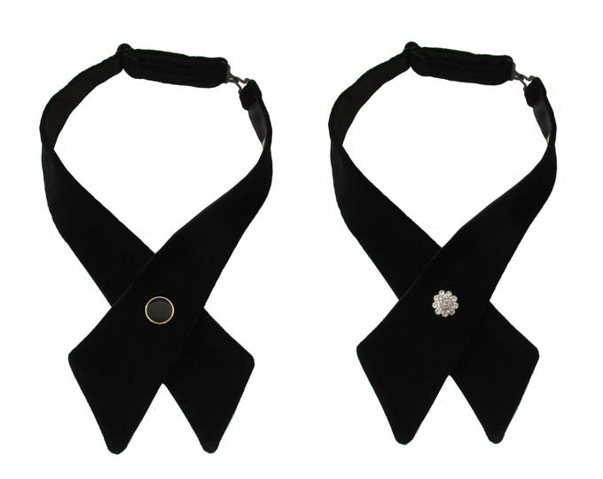 Black Satin Adjustable Crossover Bow Tie with Diamante, Silver or Gold Edged Button