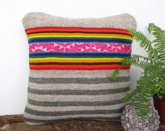 Peruvian blanket Cushion, Rainbow Cushion, full color pillow, hand woven cushion, gray and pink pillow, Peru. (16x16 in.) (40x40cm) CR-360
