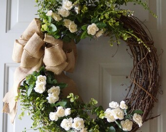 Wedding Wreaths, His and Her's Wreath,Eucalyptus Roses Wreath,  Bridal Wreath, Summer Wedding Decor, Wedding Gift  2 wreaths, double door