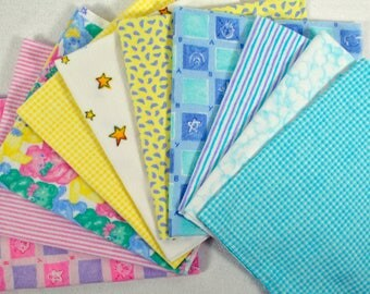 Flannel Fabric Bundle, Baby Flannel, Cotton Flannel, Rag Quilt Fabric, Kids flannel fabric