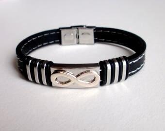 Infinity Black Men's Bracelet, Stainless Steel and Black Rubber Infinity Bracelet, Infinity, Unique, Christmas, Birthday, Gift for Him