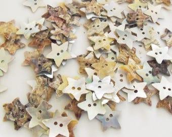 Set of 20 buttons 13mm star shape shell