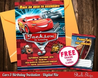 Cars 3 Invitation for Birthday Party - Digital File