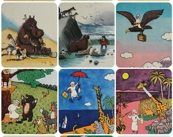 Doctor Aibolit/ Doctor Dolittle - K. Chukovsky - Illustrators V. Suteev, Y. Mogilevsky -- Set of 10 Vintage Soviet Postcards, 1962.