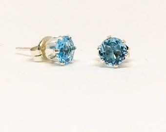 Blue Topaz 5mm gemstone stud earrings, sterling silver studs, Swiss Blue Topaz, dainty studs