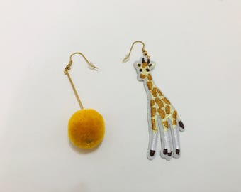 GIRAFFE - Embroidery Animal Earrings/ Handcrafted Earrings/ Giraffe Earrings with Plush Ball