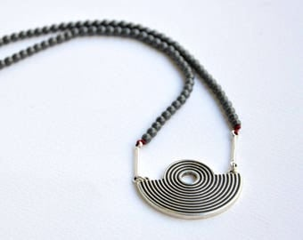 Ancient Greek Necklace|Gemstones Necklace|Ancient Greek Style|Greek Spiral Necklace|Greek Jewelry|Minimal Necklace|Hematite Necklace