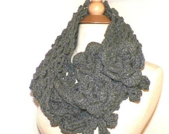 On Sale- Infinity Scarf Cowl Heather GrayTraditional Irish Lace Circle  Mesh Chunky Neckwarmer Winter With Flower Brooch Long