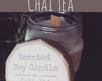 Candle / Chai Tea / Warm and Toasty / Square Mason Jars / Cabin Candle / Scented Soy candles / Spicy Candles / Food Candles / Fall Candles
