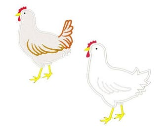 Hen Machine Embroidery Designs Embroidery Design Chickens Applique Filled Stitch Chicken Designs 4X4 5X7 6X10 8X8 Instant Download