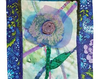 Fiber Art Flower Quilt / Flower Art / Thoughtful Gifts / Gifts for Her / Flower Fiber Art / Textile Wall Hanging / Custom Fiber Art / Flower