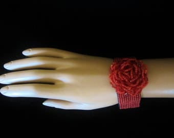 Red Seed Bead Stretch Bracelet With Center Rose Design - a stunning accessory piece with a square-dance attire.  Stunning bracelet for her!