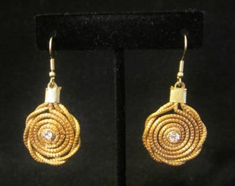 Earrings - gold-tone coiled metal-rope with a clear faceted Rhinestone at the center. Chic vintage jewelry accessory for pierced ears. Gift!