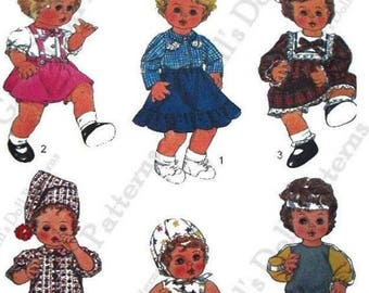 """Copy of Simplicity Pattern 8376 Wardrobe for Medium Size Baby Dolls 15"""" to 16"""" tall"""