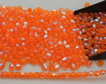 300 Sun AB coated 6mm, Preciosa Czech Fire Polished Round Faceted Glass Beads, Czech Glass Fire Polish Beads, loose orange beads