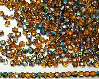 300 Topaz Vitrail coated 6mm, Preciosa Czech Fire Polished Round Faceted Glass Beads, Czech Glass Fire Polish Beads, loose brown beads