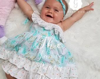 Baby Girls Party Dress- Girls Unicorn birthday Dress- Girls Toddler Tea Party Dress- Girls Tea Party Dress- Girls Unicorn Dress- sz 6mth-4T
