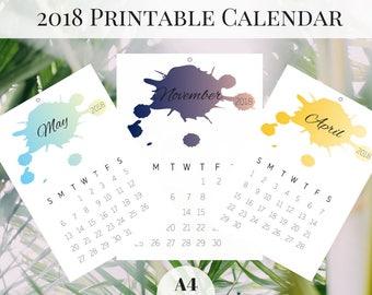 Calendar 2018 Printable, Monthly Calendar, Printable Calendar, 2018 Monthly Calendar, A4 Printable Calendar, Wall Calendar 2018