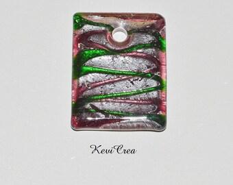 1 x purple/pink, green, silver Lampwork Glass rectangular pendant