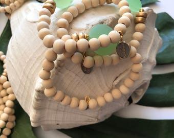 "The ""Roxi"" Bracelet: Seaglass and Birchwood stackable beaded bracelet"