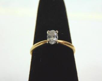 Vintage Estate Women's 14K Yellow Gold, Solitaire Diamond Engagement Ring, 1.6g E3234