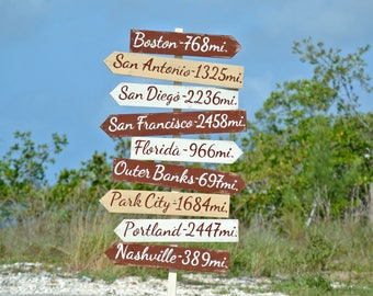 Rustic Destination sign. Wood Directional sign. New home Gift for parents, family. Yard arrow wood sign. Mileage signpost